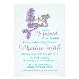 Mermaid Baby Shower Invitations Lavender And Teal
