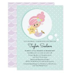 Mermaid Baby Shower Light Skin Tone Invitation