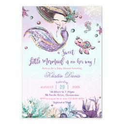 Mermaid Baby Shower Under The Sea Creatures Girl Invitation