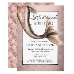 Mermaid Glam Baby Shower | Copper Rose Gold Luster Invitation