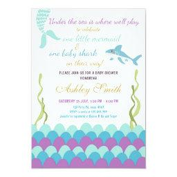 Mermaid Shark Under The Sea Twins Baby Shower Invitation