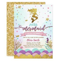 Mermaid Under The Sea Baby Shower Invitations Girl