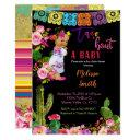 Mexican Fiesta Gold Glitter Baby Shower Invitations