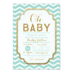Mint And Gold Baby Shower  Chevron