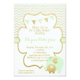 Mint and Gold Elephant