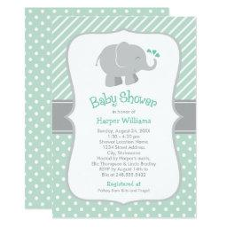Mint Green And Gray | Modern Elephant Baby Shower