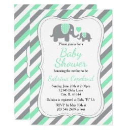 Mint Green & Gray Stripes Elephant | Baby Shower