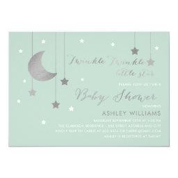 Mint Moon And Stars Baby Shower Invitations