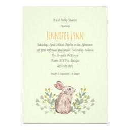 Mint Spring Woodland Bunny Baby Shower Invitations