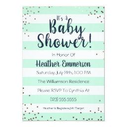 Mint Stripes & Glitter Baby Shower Invitation