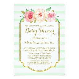 Mint Stripes Pink Watercolor Floral Baby Shower