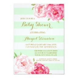 Mint Stripes Pink Watercolor Flowers Baby Shower
