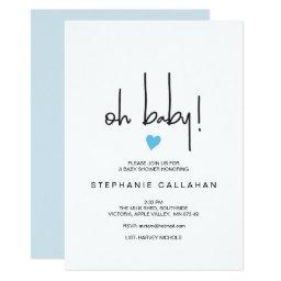 Modern Baby Boy Shower Invitations | Blue Heart