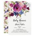 Modern Blue Plum Floral Baby Shower Invitations