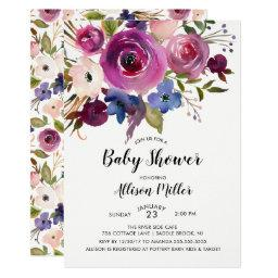 Modern Blue Plum Floral Baby Shower