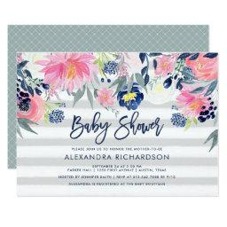 Modern Blush and Navy Floral Baby Shower