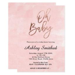 Modern blush pink watercolor chic Oh baby shower