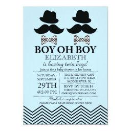 Modern Boy Little Man Mustache TWINS Baby Shower
