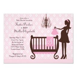 Modern Chandelier Shabby Chic Baby Shower Invite