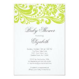 Modern Chartreuse Green Floral Swirl Baby Shower Invitations
