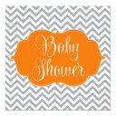 Modern Chevron Orange Gray Baby Shower Invitations
