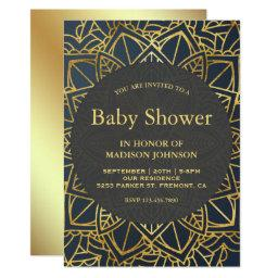 Modern Faux Gold Mandala Baby Shower Invitation
