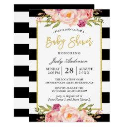 Modern Floral Gold Black White Stripes Baby Shower