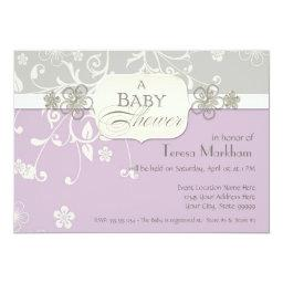 Modern Floral Swirl Flourish Bracket Baby Shower