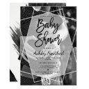 Modern Geometric Typography Photo Baby Shower Invitations