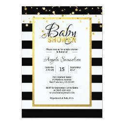 Modern Gold Black White Stripes Baby Shower