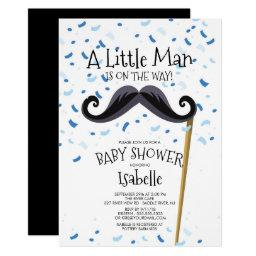 Modern Little Man Mustache Baby Shower