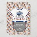 "Modern ""little Slugger"" Baseball Boys Baby Shower Invitation"