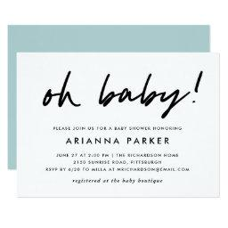 Modern Minimal Baby Shower | Blue Invitations