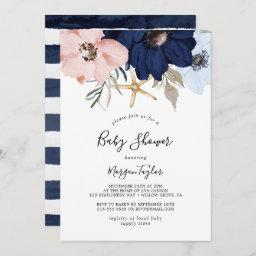Modern Nautical | Floral Baby Shower Invitation