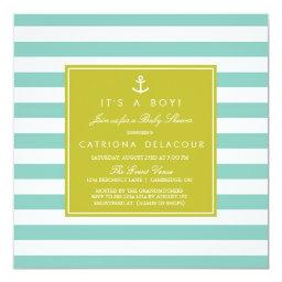 Modern Nautical Stripes Baby Shower Invitations