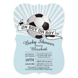 Modern Oh Boy Soccer Boys Baby Shower Invitation