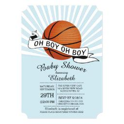 Modern Oh Boy Sports Basketball Boys Baby Shower Invitation
