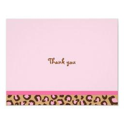 Modern Pink Cheetah Print Thank You Note