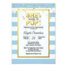 Modern She's Ready To Pop Gold Boy Baby Shower Invitation