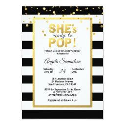 Modern She's Ready To Pop Gold Unisex Baby Shower