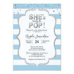 Modern She's Ready To Pop Silver Boy Baby Shower