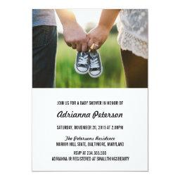 Modern Simple Baby Shower Couple Photo Invitation