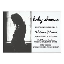 Modern Simple Baby Shower Photo Invitations