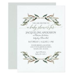 Modern Simple Boy Baby Shower Watercolor Greenery Invitation