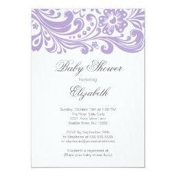 Modern Soft Purple Floral Swirl Baby Shower