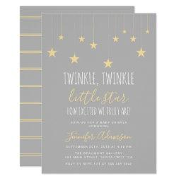 Modern Twinkle Little Star Baby Shower Invitations