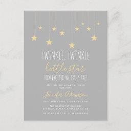 Modern Twinkle Little Star Baby Shower Invitations Postinvitationss
