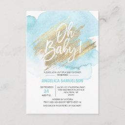 """Modern Watercolor Blue Gold Oh Baby Shower """" Invitation"""