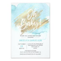 Modern Watercolor Blue Gold Oh Baby Shower Invitations