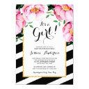 Modern Watercolor Floral Stripes Girl Baby Shower Invitation